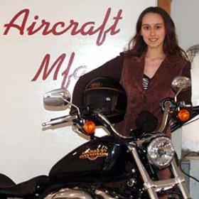 Sabrina Pasterski and her motorcycle